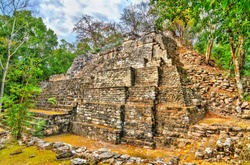 Ruins of a Mayan pyramid at the Balamku Site in Campeche, Mexico