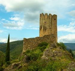 Ruins of a medieval Cathar castle in Lastours, Occitania, France