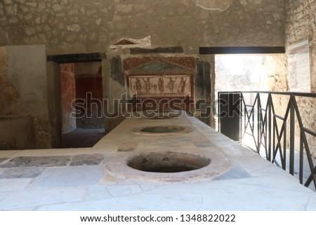 Ruins of a Pompeii tavern 43 a.D.