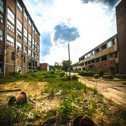ruins of a very heavily polluted industrial factory, place was known as one of the most polluted towns in Europe