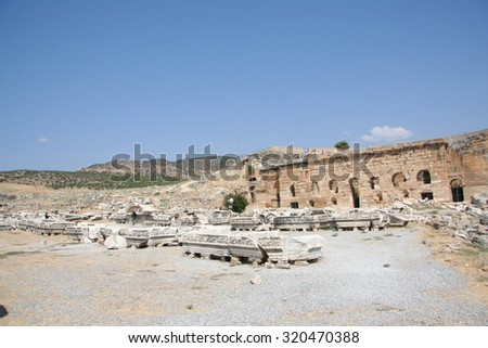 Ruins of an ancient city of Hierapolis, Pamukkale, Turkey