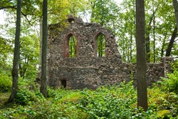 Ruins of an ancient fortress in the valley of the Gauja river, Latvia