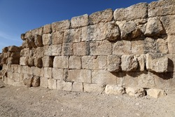 Ruins of an ancient stone fortress wall in northern Israel