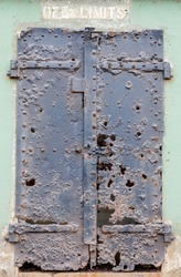 Ruins of an iron door at Battery Mendell, Fort Barry, Marin Headlands, California, USA.