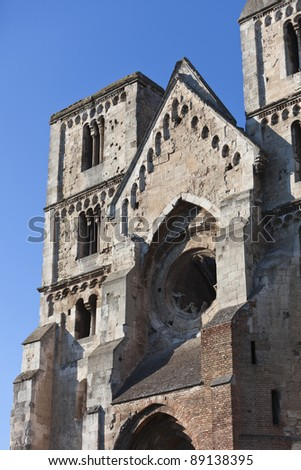 Ruins of an old famous church, Hungary. Front side.