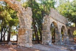 Ruins of ancient aqueduct at Phaselis, Turkey.