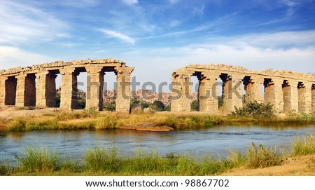 Ruins of ancient bridge. Hampi, India.
