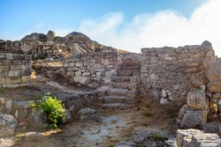 Ruins of ancient buildings in Panticapaeum. There are remains of walls & stairs. City was founded by Greeks in VII BC. Located in Kerch, Crimea