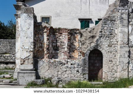Ruins of ancient buildings preserved in memory of  shattering earthquake of 1976 in Venzone. Friuli, Italy
