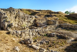 Ruins of ancient buildings & temples in Panticapaeum, Kerch, Crimea. City was founded by Greeks in VII BC. Now it's open air museum