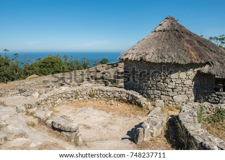 Ruins of ancient Celtic village in Santa Tecla, Pontevedra,  Galicia, Spain. #748237711