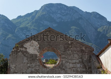 Ruins of ancient church preserved in memory of  shattering earthquake of 1976 in Venzone. Friuli, Italy