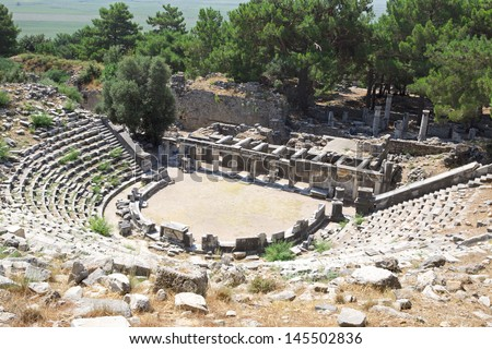 Ruins of ancient city and amphitheater of Priene, Turkey