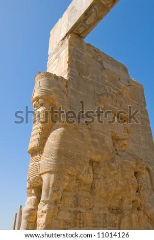 Ruins of ancient city of Persepolis - stock photo