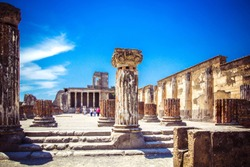 Ruins of ancient city of Pompeii near volcano Vizuvius, Pompei, Naples, Italy.