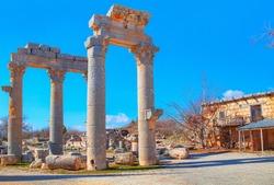 Ruins of ancient city Olba (Uzuncaburc)  - Mersin, Turkey. Uzuncaburc, the place of worship of the Olba Kingdom in the Hellenistic Period