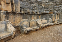 Ruins of ancient Greek-Roman theatre of Myra in Demre, Antalya province in Turkey