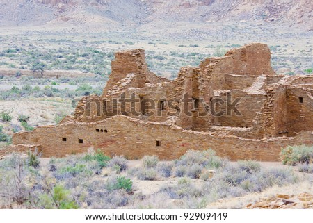 Ruins of ancient indians dwellings, Chaco Culture National Historical Park, New Mexico