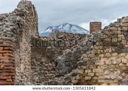 Ruins of Ancient Pompeii Italy and Mt. Vesuvius with Snow