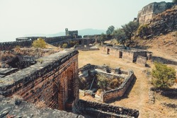 Ruins of ancient Ramkot fort in Kashmir, Pakistan. Which showcases the rich history of India, Ancient Civilization and the Vintage Architecture