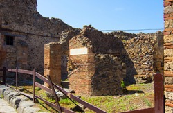 Ruins of ancient Roman city of Pompeii, buried under ashes after eruption of Mount Vesuvius  in 79 AD. Campania, Italy. UNESCO World Heritage Site