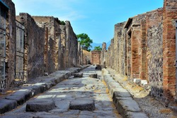 Ruins of Ancient Roman city of Pompeii Italy, was destroyed and buried with ash after Vesuvius eruption in 79 AD