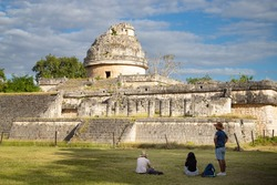 Ruins of antique sity. Observatory El Caracol in Chichen Itza. Mexico.