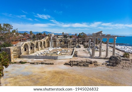 Ruins of Apollon Temple in Side Ancient City in Antalya, Turkey. Temple of Apollo in Side Town of Antalya Province