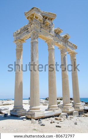Ruins of Athena temple in Side Turkey on the medeterranean coast