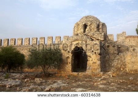 Ruins of Byzantine church of rotonda in the Ottoman fortress in Alanya (Turkey)