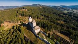 Ruins of Castle Kasperk aerial view. The Czech Republic, Europe .