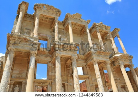 Ruins of Celsius Library in ancient city Ephesus. In the first quarter of the 2nd century AD, the Roman senator was built on the tomb of Julius Celsus Polemaeanus.