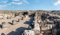 Ruins of Church & Hellenistic compound: Hippos / Sussita - Excavations of an ancient settlement - one of the cities of Decapolis. Israel.