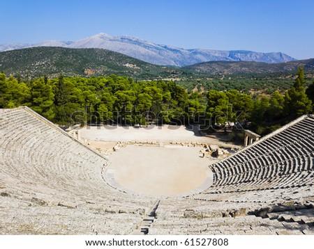 Ruins of Epidaurus amphitheater, Greece - archaeology background