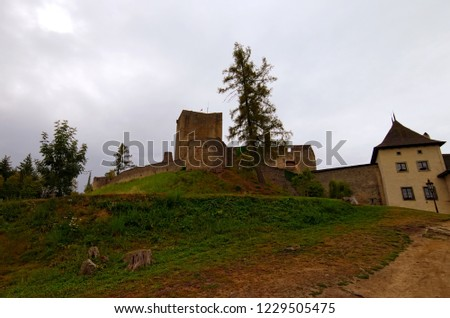 Ruins of famous Landstejn Castle on a hill. It was the largest Romanesque castle in the Czech lands. It is the oldest and best preserved such structures in Europe. South Bohemia, Czech Republic.