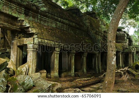 Ruins of famous Ta Prohm Temple in cambodian Angkor Wat area