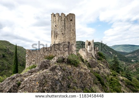 Ruins of four medieval cathar castles Lastours in the mountain valley of Pyrenees, France