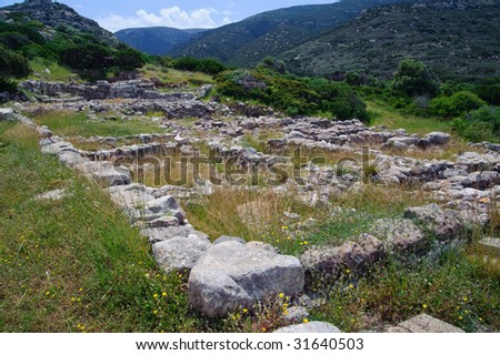 Ruins of Gournia are over 3000 years old. They give an idea how Minoan people lived although not much is left. Ruins are located in Crete, Greece.
