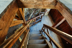 Ruins of Helfstyn Castle. Staircase in the lookout tower. Moravia. Czechia. Europe.