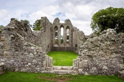 Ruins of Inch Abbey in Northern Ireland, United Kingdom. This ruined monastery is located near Downpatrick, County Down.