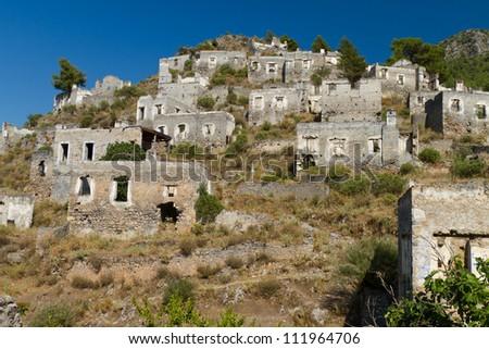 Ruins of Kayakoy, Fethiye - stock photo