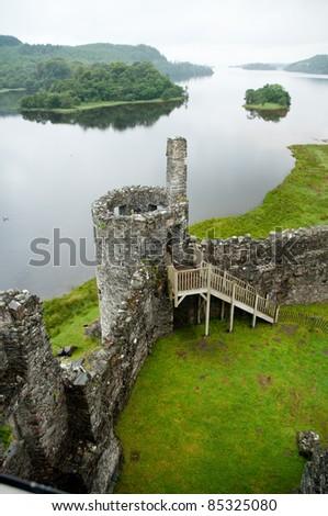 ruins of Kilchurn castle in Scotland
