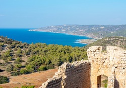 Ruins of Kritinia castle and panorama of Rhodes island, Greece