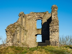 Ruins of Medieval British 11th century Clun Castle in England, UK, built by William the Conqueror