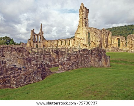 Ruins of medieval Bylands Abbey in North Yorkshire, England