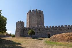 Ruins of medieval castle Platamon, Greece. Summer time.