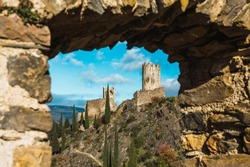 Ruins of medieval cathar castles Lastours in the mountain valley of Pyrenees, France