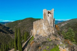 Ruins of medieval cathar castles Lastours in the Pyrenees, France