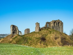 Ruins of Medieval 11th century Clun Castle in England, UK, built by William the Conqueror