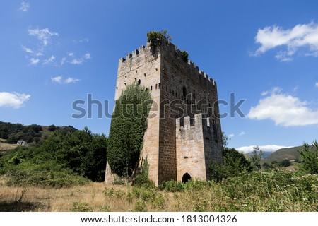 Ruins of Medieval tower of Velasco in Espinosa de los monteros, Foto stock ©